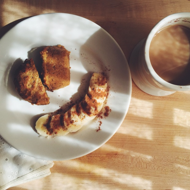morning muffin with coffee and banana buttons with cinnamon