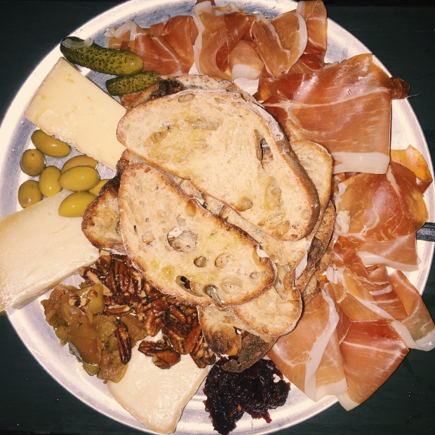 this is my favorite food group: the meat and cheese plate.